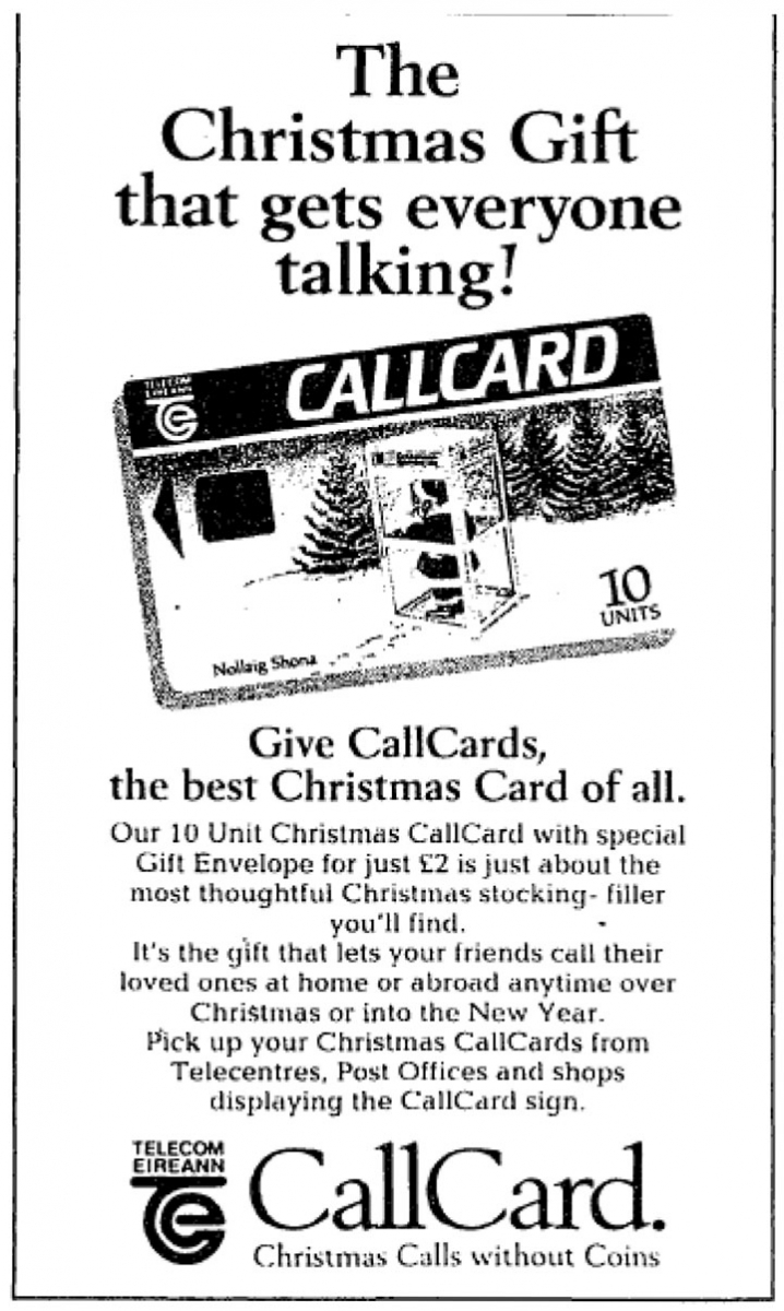 Christmas Callcard Advert - Irish Times December 1992