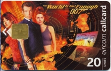 """James Bond """"The World is not Enough"""" Callcard (front)"""