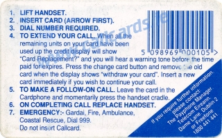 Christmas 1992 Callcard (back)