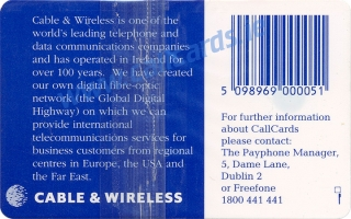 Cable & Wireless Callcard (back)