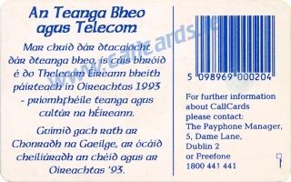 An tOireachtas 1993 Callcard (back)