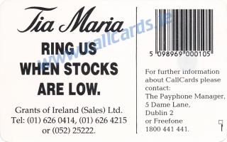 Tia Maria 1993 Callcard (back)