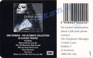 Diana Ross Callcard (back)