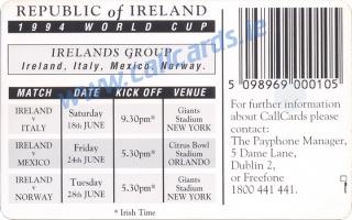 FAI World Cup USA 1994 Callcard (back)