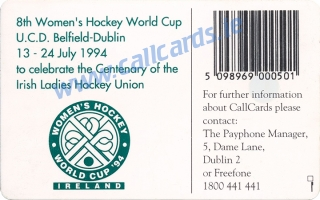 Women's Hockey World Cup Callcard (back)
