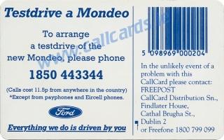 Ford Mondeo Callcard (back)