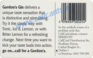 Gordon's Gin Callcard (back)