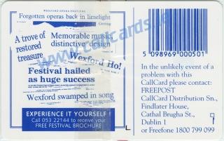 Wexford Opera Festival Callcard (back)