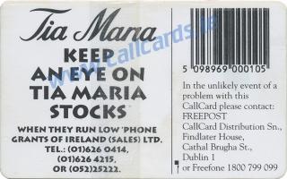 Tia Maria 1994 Callcard (back)