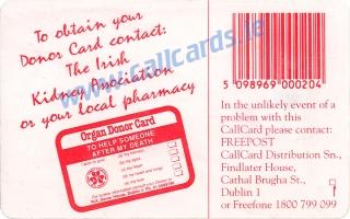 Irish Kidney Association Callcard (back)