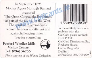 The Great Connaught Exhibition 1895 at Foxford Woollen Mills Callcard (back)