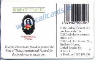 Rose of Tralee 1995 Callcard (back)