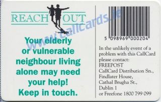 Reach Out Campaign 1995 Callcard (back)