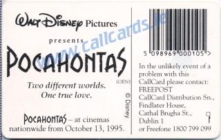 Pocahontas Callcard (back)