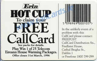 Erin Hot Cup 1995 Callcard (back)