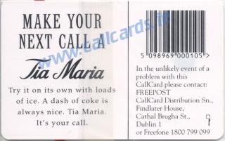 Tia Maria 1995 (A) Callcard (back)