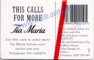 Tia Maria 1995 (B) Callcard (back)