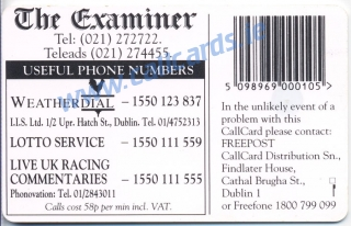 The Examiner 1996 Callcard (back)