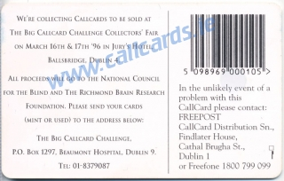 Callcard Challenge 1996 General Issue Callcard (back)