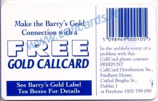 Barrys Tea Callcard (back)