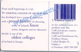 N.C.A.D Pencil (NCAD - National College of Art and Design) Callcard (back)