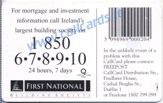First National Building Society Callcard (back)