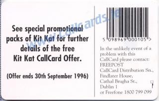 Kit Kat Callcard (back)