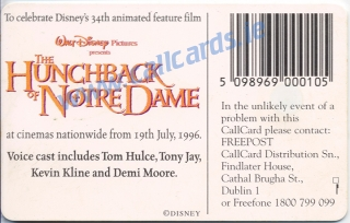 Disney's  The Hunchback of Notre Dame Callcard (back)