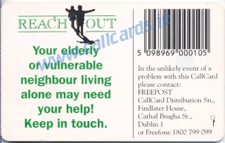 Reach Out Campaign 1996 Callcard featuring Ronnie Drew (back)