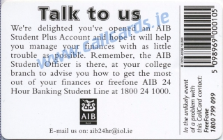 AIB Student Plus 1996 Callcard (back)