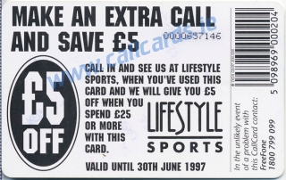 Lifestyle Sports 1997 Callcard (back)