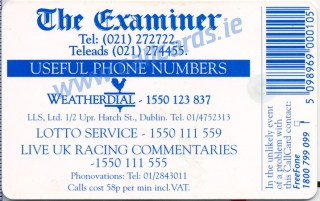 The Examiner 1997 Callcard (back)