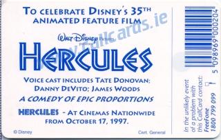 Disney's Hercules Callcard (back)