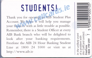 AIB Student Plus 1997 Callcard (back)