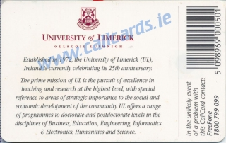 University Of Limerick Callcard (back)