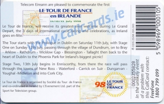 Tour De France Callcard (back)