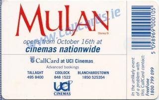 Disney's Mulan Callcard (back)