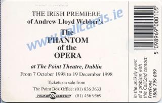 Phantom of The Opera Callcard (back)