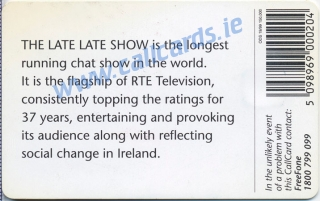 The Late Late Show Callcard (back)