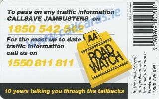 AA Roadwatch Callcard (back)