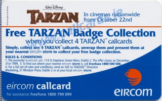 Disney's Tarzan Stretching Callcard (back)