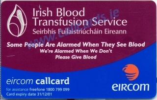 Irish Blood Transfusion Service Callcard (back)