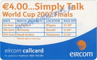 Alan Kelly World Cup 2002 Callcard (back)