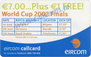Colin Healy World Cup 2002 Callcard (back)