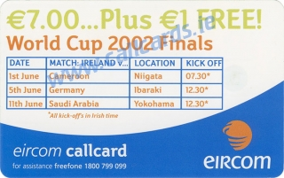 Damien Duff World Cup 2002 Callcard (back)