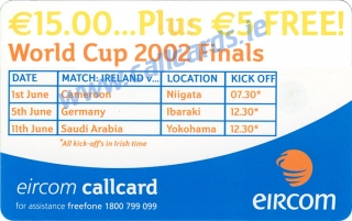 Mick McCarthy World Cup 2002 Callcard (back)
